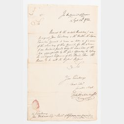 Muhlenberg, Frederick A. (1750-1801) Autograph Letter Signed, 24 September 1784.