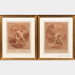 François Bernard Lépicié (French, 1698-1755), After Jean Marc Nattier (French, 1685-1766), Two Engravings: Nul amour sans peine Nul Ros