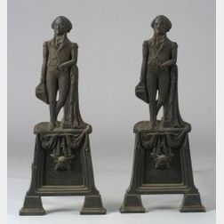 Pair of Cast Bronze George Washington Figural Andirons