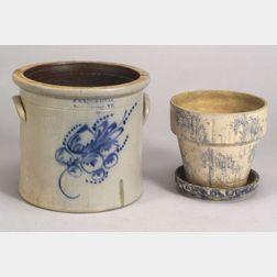 Three Cobalt Decorated Stoneware Items