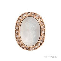 14kt Gold and Moonstone Intaglio Pendant/Brooch
