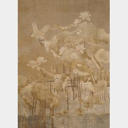 Wall Tapestry featuring Egrets in a Lotus Pond