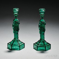 Two Emerald Green Pressed Caryatid Candlesticks