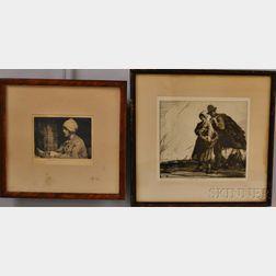 William Lee-Hankey (British, 1869-1952)      Two Etchings:   The Trinket Box