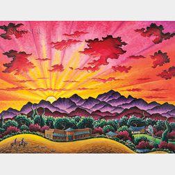 Kim Douglas Wiggins (American, b. 1960)      Riding Beneath a Santa Fe Dawn