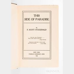 Fitzgerald, F. Scott (1896-1940) This Side of Paradise  , First Edition, Author's First Book.