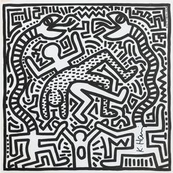 After Keith Haring (American, 1958-1990)      Album Insert for Malcolm McLaren's Duck Rock