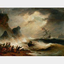 Thomas Luny (British, 1759-1837)    Lot of Two Images of The Wreck of the Brig Warren of Whitehaven...