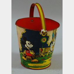 Walt Disney Enterprises/Ohio Art Co. Lithographed Golfing-decorated Tin Sand Pail