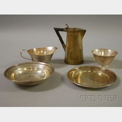 Five Silver and Other Metal Serving Items