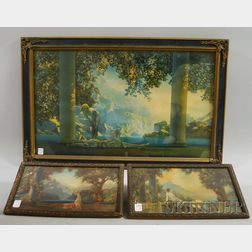 Framed Maxfield Parrish and Two R. Atkinson Fox Prints