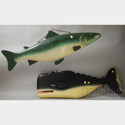 """Two Polychrome-painted Molded Tin Trout and Whale """"Trade Signs,"""""""