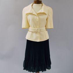 Akris White Viscose Three-button Jacket with Belted Waist
