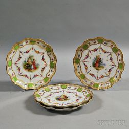 Four Dresden Porcelain Plates with Courting Scenes