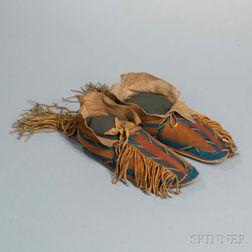 Southern Cheyenne Beaded Hide Man's Moccasins