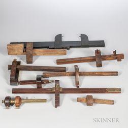 Nine Cabinetmaker's Marking Gauges