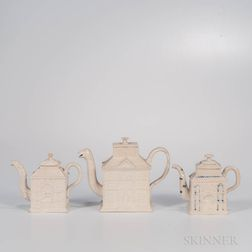 Three Staffordshire White Salt-glazed Stoneware House Teapots and Covers