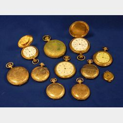 Eleven Gold-filled Case Pocket Watches
