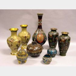 Eight Asian Cloisonne Vases and an Incense Burner