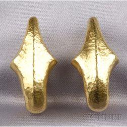 22kt Greek Gold Paleolithic Earclips, Ilias Lalounis