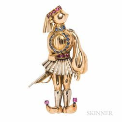 18kt Gold Gem-set Figural Brooch