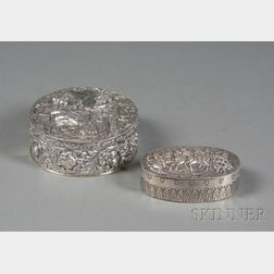 Two Continental Silver Dresser Boxes