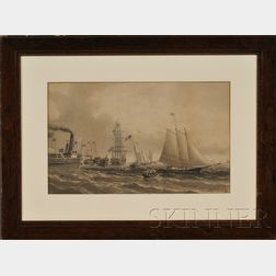 William Bradford (American, 1823-1892)      The New York Yacht Club Regatta off New Bedford.
