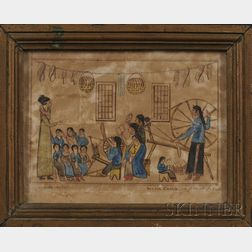 Framed Watercolor Painting by Dennis Cusick (1800-1824)