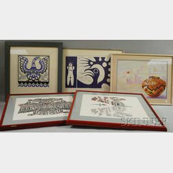 Five Framed Pacific Northwest and Inuit Prints:
