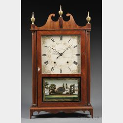 Eli Terry & Sons Mahogany Pillar and Scroll Shelf Clock