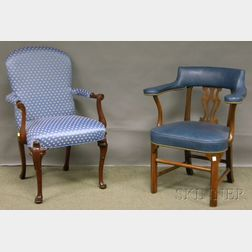 Pair of Southwood Queen Anne-style Upholstered Carved Mahogany Armchairs and a Set of Three Kittinger/Williamsburg Restoration Chippend