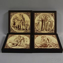 Four Framed Thomas Allen Religious and Parable Tiles