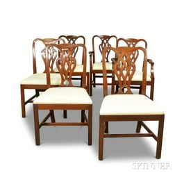 Set of Six Baker Georgian-style Carved Mahogany Dining Chairs