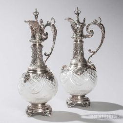 Two German .800 Silver-mounted Glass Wine Ewers