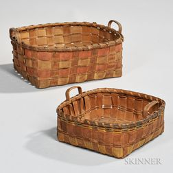 Two Painted Ash Splint Indian Baskets