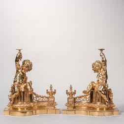Pair of Gilt-bronze Chenets