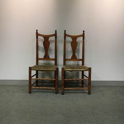 Two Queen Anne Maple Yoke-back Side Chairs