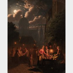 Johann Mongels Culverhouse (Dutch, 1820-1891)      Market Scene at Night