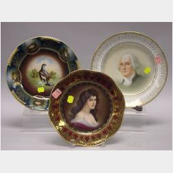 Three Continental Porcelain Cabinet Plates