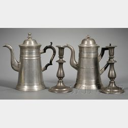 Two Pewter Coffeepots and a Pair of Candlesticks