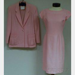 Emanuel Ungaro Parallèle   Baby Pink Wool Jacquard Dress and Jacket