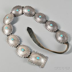 Navajo Contemporary Silver and Turquoise Concha Belt