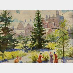 Rutledge Bate (American, 1891-1964)      Wellesley College View