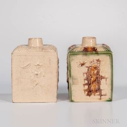 Two Staffordshire Creamware Chinoiserie-decorated Tea Canisters