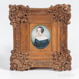 American School, Early 19th Century      Portrait Miniature of Mary Westervelt Earle of New Jersey