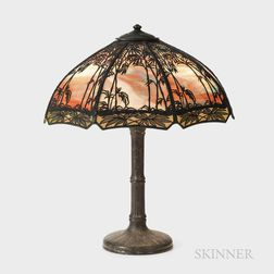 Handel Bamboo Sunset Overlay Table Lamp