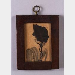 Miniature Hollow-cut and Watercolor Silhouette Portrait of  a Woman