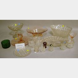 Approximately Twenty-six Pieces of Colorless Pressed and Cut Glass Tableware and Eleven Colored Glass Articles.