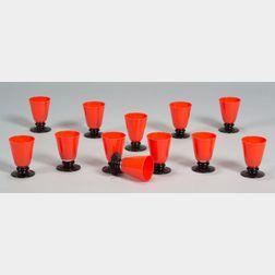 Twelve Art Deco Glass Goblets