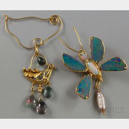 Two Contemporary Gold Gem-set Brooches